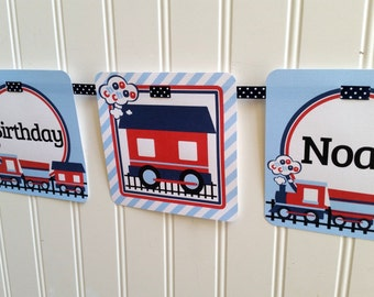 Choo Choo Train Happy Birthday Banner / Navy Blue and Red Train Banner / Personalized with Name and Age