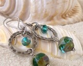 Hypoallergenic Earrings - Pure Titanium Earrings - Hypoallergenic Dangle Earrings - Titanium Dangle Earrings - Aqua Blue Glass Bead Earrings