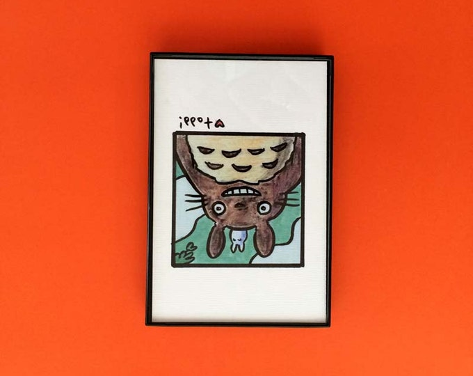 My Neighbor Totoro, Totoro, Art, Print, 4 x 6 inches, movies, Hayao Miyazaki, framed artwork, illustration, wall decor, Studio Ghibli, anime