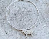 Vegan Bangle Bracelet- Dainty Recycled Stering Mini Cow Bracelet-Choose your Charm-Customizable-Vegan Jewelry Eco Friendly-Charm Bracelet