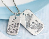 Personalized Dog Tag Necklace wiht Handprint Footprint and birth info - Actual baby footprint handprint dog tags, Father's day gift