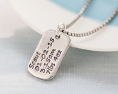 Personalized Dog Tag Necklace with baby birth info - gift for new dad, Father's day, man's personalised dog tag necklace, for him, for dad
