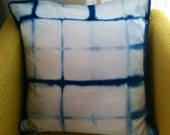 Indigo dyed shibori pillow cover