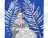 Linocut and Screenprint Portrait of Anna Atkins, Botanist, Photography Pioneer, Women in Science, History of Science, Ferns, Botanicals