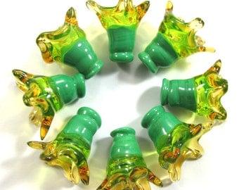 Handmade Lampwork bead glass - Lampwork beads set - Thimble Bell Beads, green, amber (8) SRA