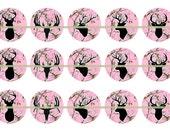 Deer Head Pink Camo Pins, Magnets or Flatback Cabochons, Deer Head Silouhette Magnets, Pink Cameo Pins, 12 ct set