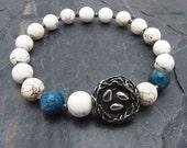 white turquoise bracelet, apatite bracelet, stretch bracelet, nest jewelry, gift for new mom, bird's nest jewelry, aviary gift,nature theme
