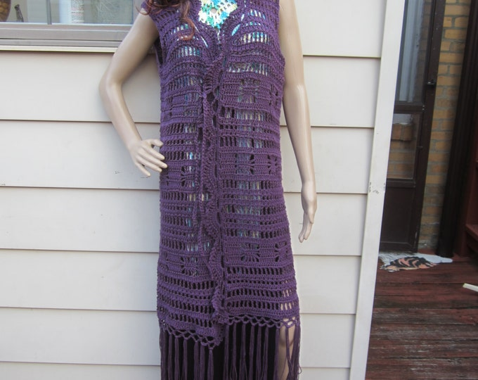 Crochet Maxi Vest, Crochet vest,  crochet fringe maxi vest, festival clothing,  Maxi vest, , boho long vest, long vest, , Gypsy, hippie
