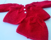 Hand knitted Baby Sweater and Bonnet-Handmade Infant Reborn Dolls