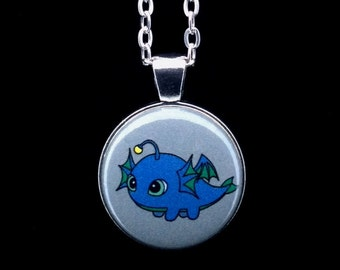 "Elemental Fat Water Dragon Pendant Necklace - 24"" Silver Plated Chain"