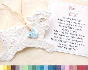 10 Baptism Favors - Seed Paper Lambs - Plantable Lambs - Flower Seed Favors - Christening Favors