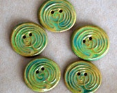5 Handmade Ceramic Buttons - Labyrinth Buttons in Grass Green Glaze and Brown Stoneware