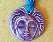 Handmade Ceramic Pendant with a Lavender Meditation Face - Sari Yarn Ribbon - perfect for wedding or Blessingway
