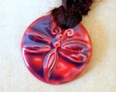 Handmade Ceramic Pendant with a Magenta Dragonfly - Sari Yarn Ribbon - perfect for wedding or Blessingway