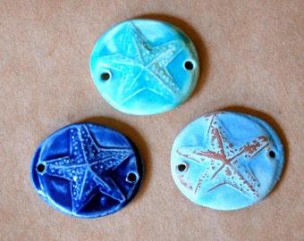 3 Handmade Starfish Ceramic Beads - Sweet Trio of Stafish Bracelet Beads