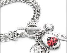 Lucky Ladybug Charm Bracelet, Silver Ladybug Jewelry, Ladybug Bracelet