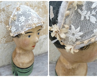 Vintage 1920/20s French wedding wreath /headband/diadema/hat with lace and wax blossoms