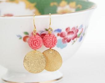 Coral Pink Earrings, Gold Earrings, Geometric Earrings, Dangle Earrings, Carved Beads, Coral Pink Beaded Earrings, Gift For Woman