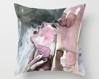"Nude Watercolor Pillow, Watercolor Painting, ""A Sensual Moment"" art by Kathy Morton Stanion  EBSQ"