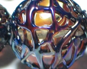 """Handmade Glass Lampwork Beads, """"Lattice"""" focal filler art bead 11mm round"""