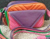 Vintage multi NEON colored purse shoulder bag VEGAN 1980s pop princess long