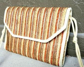 Vintage woven metallic boho purse wicker Earth Tones vegan gold copper