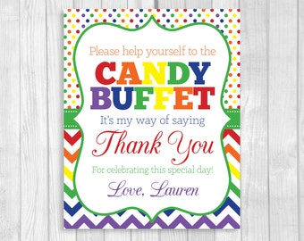 Personalized 8x10 Printable Rainbow Chevron and Polka Dots 1st Birthday Girl Party Candy Buffet Digital Sign - Featuring Your Child's Name