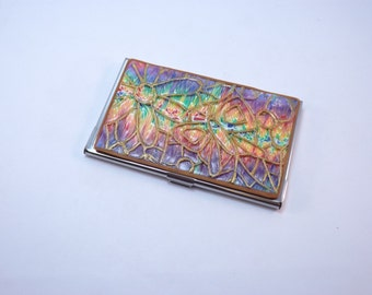 Business Card Case, Colorful Butterfly on Rainbow Polymer Clay Embellished