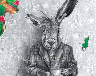 March Hare Original Art Alice In Wonderland Art Fairy Tale Art Fantasy Art March Hare Drawing Rabbit Art Rabbit Drawing