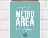 Art Print, Major Metropolitan Skyline, Personalized Engagement Gift, Wedding Skyline Gift, City Couple Art, Personalized urban art
