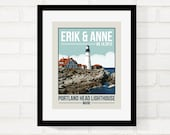 Lighthouse Engagement, Anniversary Gift for Her, Honeymoon Keepsake, Gift for Him, Travel Poster Vintage Style, Wedding Gift for Couple