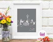 Personalized Seattle Wedding Gift Engagement Gift City Skyline Art Print Personalized Seattle Poster Wedding Decor Modern Home Guestbook