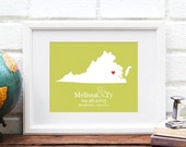 Virginia State Map, Personalized State Map Wedding Print, Anniversary Gift, Virginia is for Lovers, Custom Bridal Shower -  Art Print