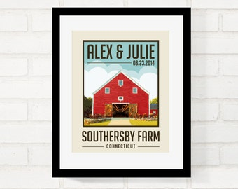 Rustic Barn Wedding, Vintage Inspired Travel Poster, First Anniversary Gift, Gift for Newlywed Couple, Wedding Keepsake - Use Your Own Photo