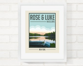 Wedding Gift Vintage Travel Poster Custom Designed From Your Own Photo, Personalized Anniversary Gift, Lake Art - 8x10 Art Print