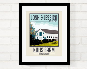 Barn Wedding, Rustic Wedding, Perfect Gift for Newlywed Couple, Wedding Keepsake, Vintage-style Poster First Anniversary Gift - Any Location