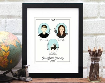 Custom Family Illustration, Personalized Family Portrait, Family Tree Art Print, Personalized Family of Three Drawing - 8x10 Art Print