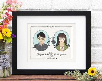 Gift for Couple Family Illustration Anniversary Gift Newlywed Wedding Present Illustrated Portrait  Art Print, Custom Illustration