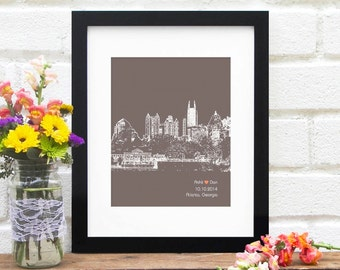 Atlanta City Skyline, Atlanta Georgia skyline, Atlanta Wedding Gift, Bridal Shower, Wedding Sign, Engagement First Anniversary, Gift for Her