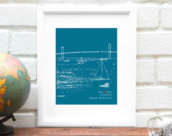 Personalized Engagement Gift, Newport, Rhode Island, Personalized Engaged Gift, First Anniversary Gift, Rhode Island Newport Art - 8x10