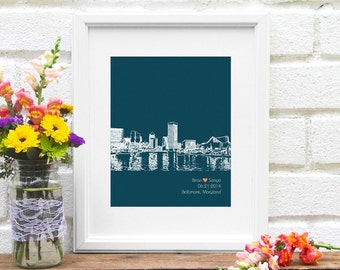 Engagement Gift, Baltimore Skyline, Personalized Wedding Gift Art Print, Baltimore Bride, Personalized Anniversary Gift, Baltimore City Art