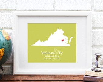 Virginia State Map, Personalized State Map Wedding Print, Anniversary Gift, Virginia is for Lovers, Custom Bridal Shower - 8x10 Art Print
