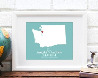 Washington State Personalized Map, Personalized Wedding Gift, State Map, Bridal Shower Decor, Gift for Couple, Gay Wedding Gift- Art Print
