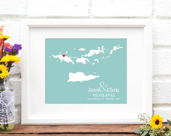 Island Map Wedding Gift, Caribbean Wedding Personalized Map Design, Destination Wedding Art, USVI, Virgin Islands, Long Distance Wedding Art