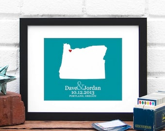 Oregon State Personalized Map, Personalized Oregon Map, Portland Wedding Map Gift, Wedding Gift, Bridal Shower Decor - 8x10 Art Print