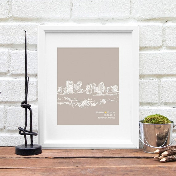 Engagement Wedding Gift, City Skyline, Edmonton, Alberta Canada, Bridal Shower Gift, Guest Book Reception Poster, Anniversary