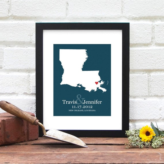 Custom State Map Engagement Gift, Personalized Wedding Gift, LOUISIANA Love State Map, Bridal Shower, Personalized Map, Wedding Decor Poster