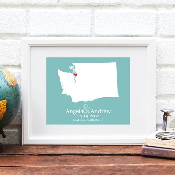 Washington State Personalized Map, Personalized Wedding Gift, State Map, Bridal Shower Decor, Gift for Couple, Gay Wedding Gift, 8x10 Print