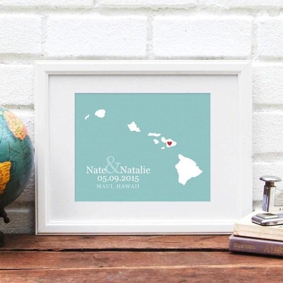 Hawaii Map, Hawaiian Islands, Wedding Gift, Hawaii Wedding Map ...