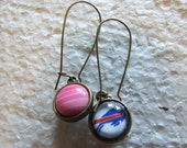 Buffalo Bills  Fan  Two sided Reversible  Earrings Bling and Buffalove  Pink Rainbow  Monotones